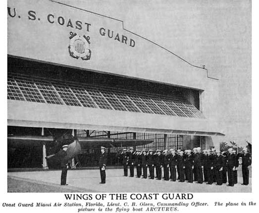 1935 - Muster of officers and men at Coast Guard Air Station Miami at Dinner Key, Miami