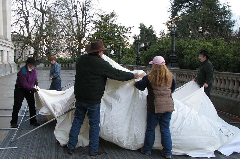 Setting up LNT Tent