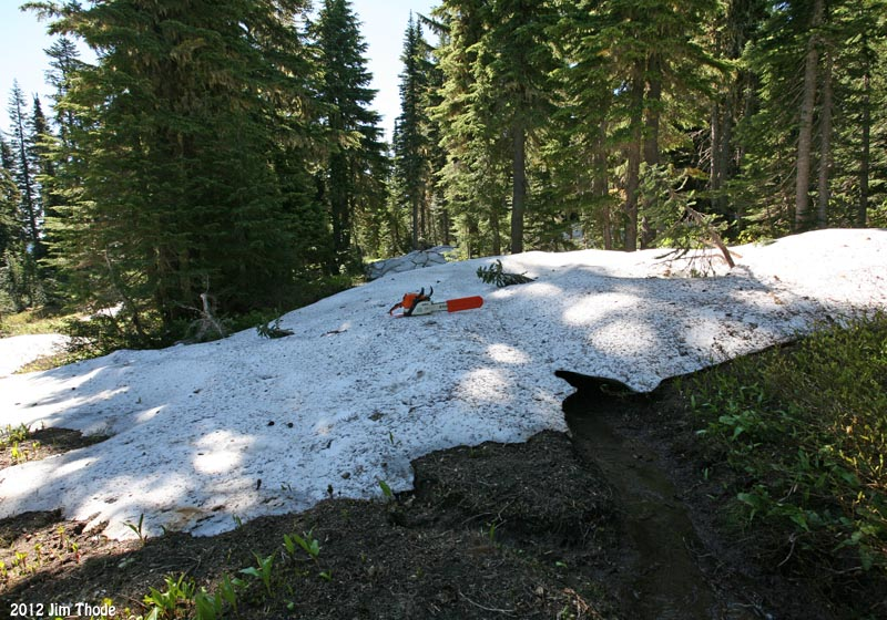 Snow up to 6 deep on Klickitat Trail (Trail # 7)