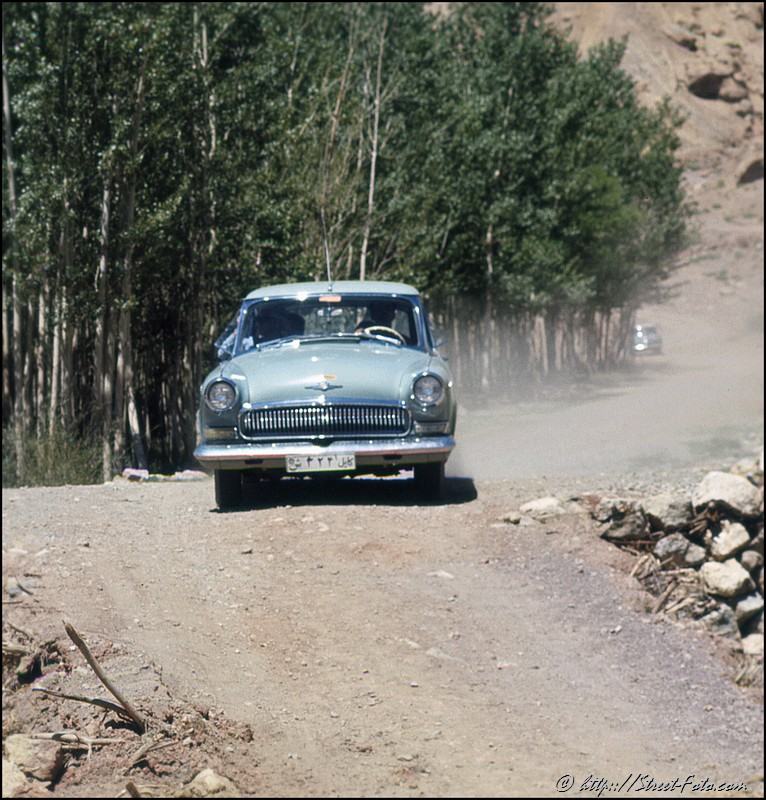 Afganistan in 1969. Soviet-made 'Volga' car in Bamyan. Emir Shabashvili's private collection
