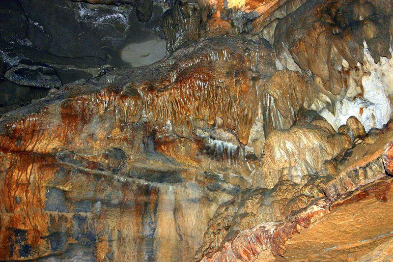 Metal deposits line the cavern walls, Penns Caves, PA