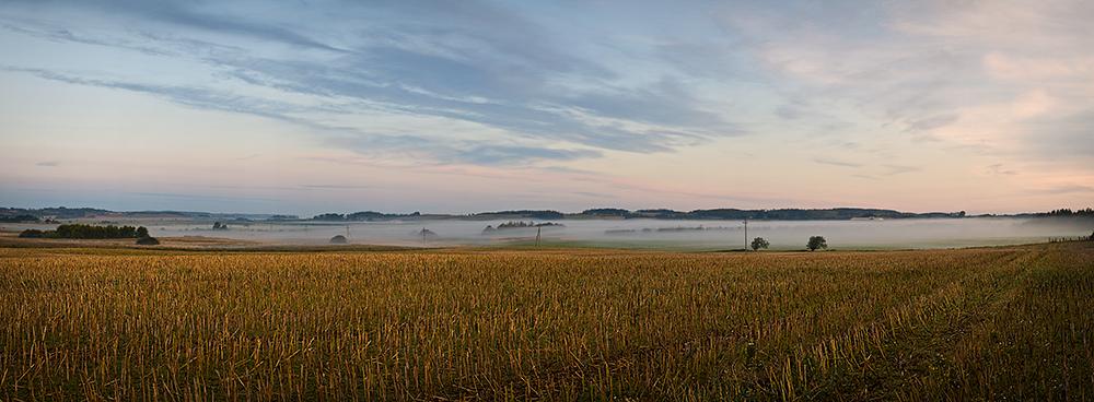 Fog Field Sunrise Panorama