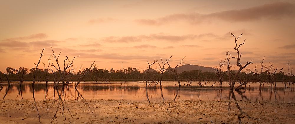 Sunrise at Sleeping Buddha Rock in Lake Kununurra