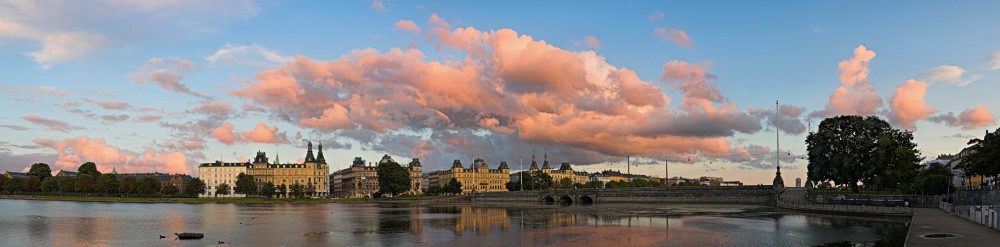 Søtorvet & Lake Peblinge Wet Season Sunset Cloudscape panorama