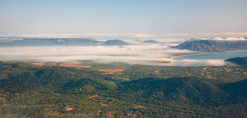 Cooktown and fog from above