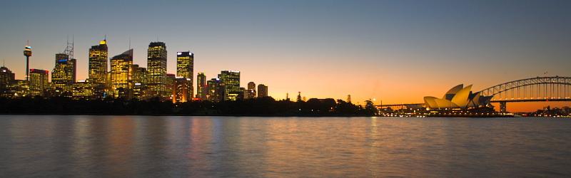 Sydney CBD skyline, Opera House and Bridge at dusk pano