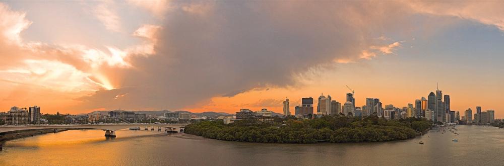 Brisbane sunset cloudscape skyline panorama