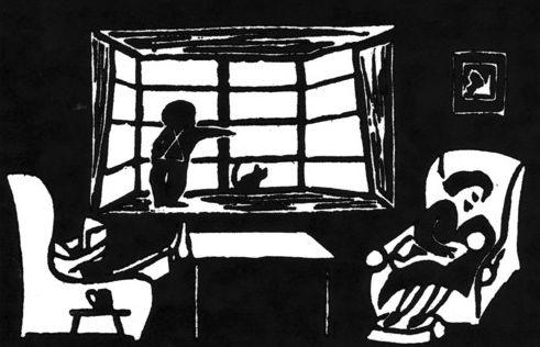 Ru & kitten Pash in the window; Adrian in arms.