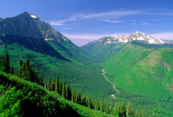 AG5) U-shaped valley of McDonald Creek, Glacier National