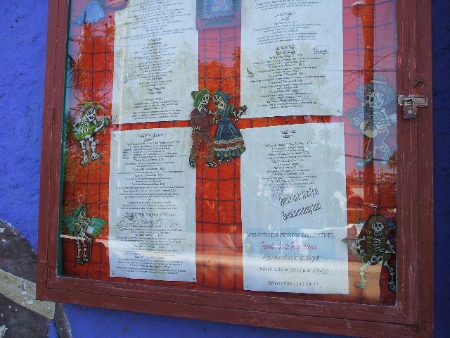 Even the menus at Mi Casa are decorated w/ Catrinas