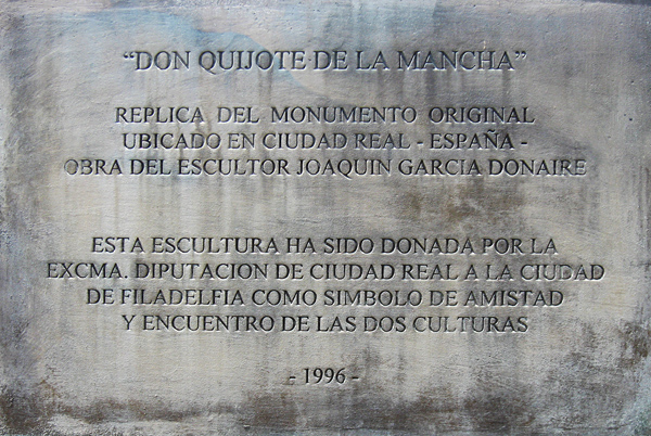 Don Quijote - the inscription, in Spanish