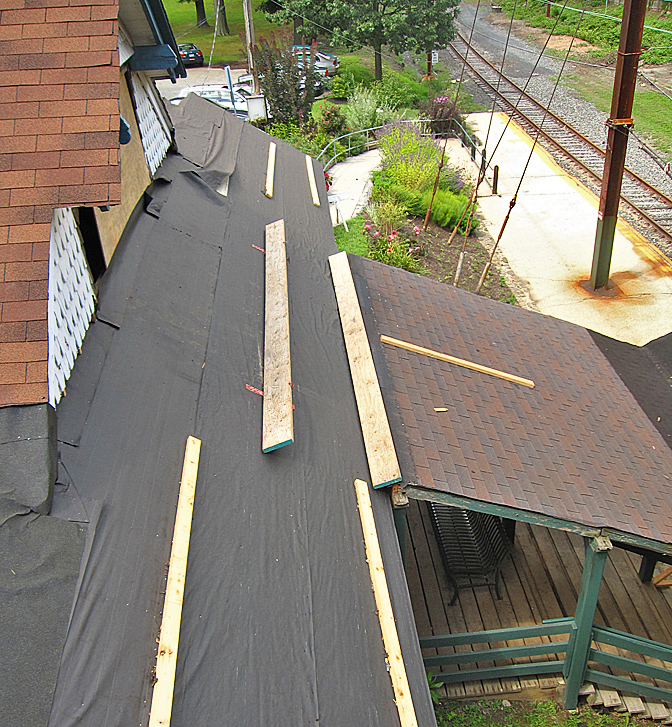 The Canopy Roof has secure supports and new decking under the tarpaper.