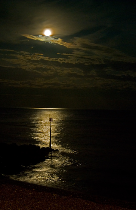 Moonshine on sea at Sidmouth