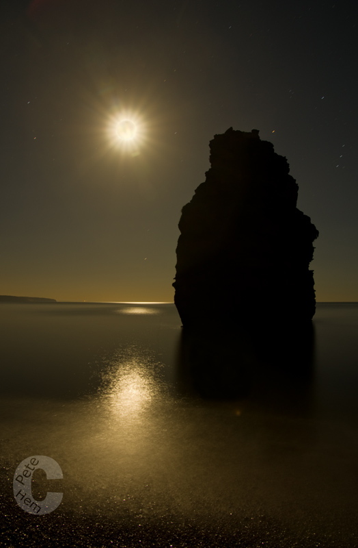 Ladram bay lit by the moon