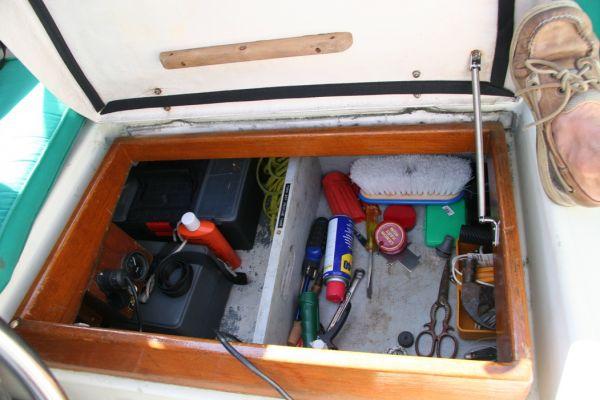 VERY handy custom tool drawer in strbd cockpit locker