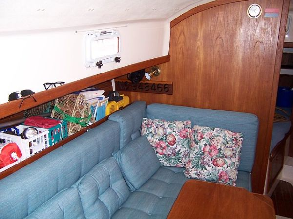 port settee, fwd cabin just visible