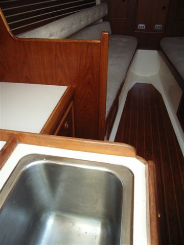 galley sink  saloon from companionway