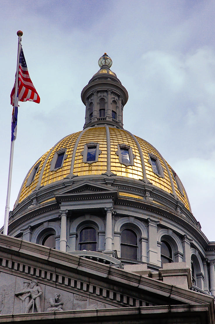 Gold Dome of Colorado State Capitol in Denver