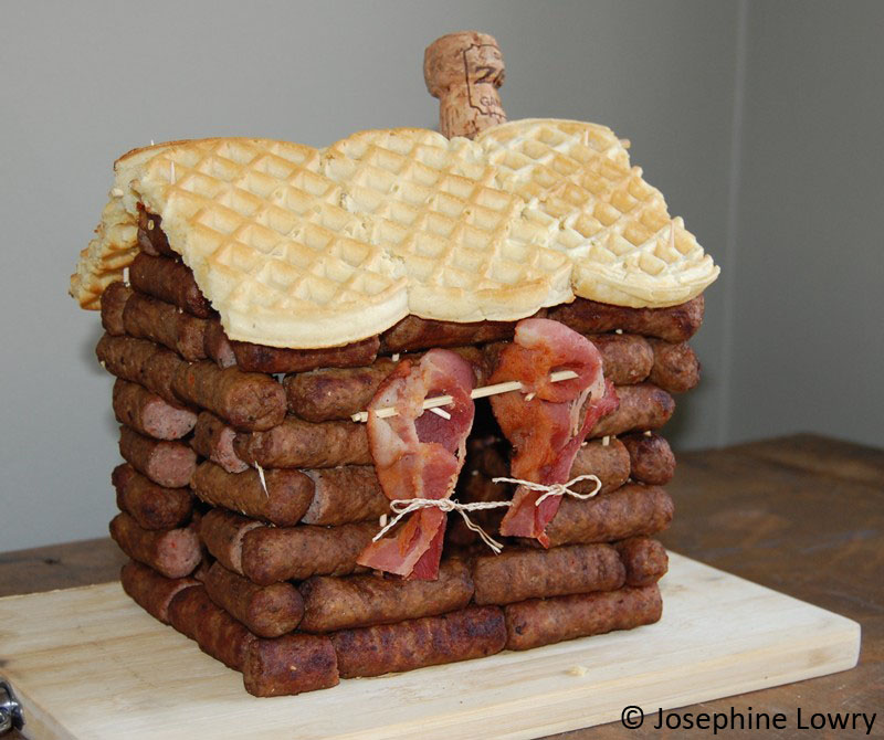 sausage log cabin with bacon curtains