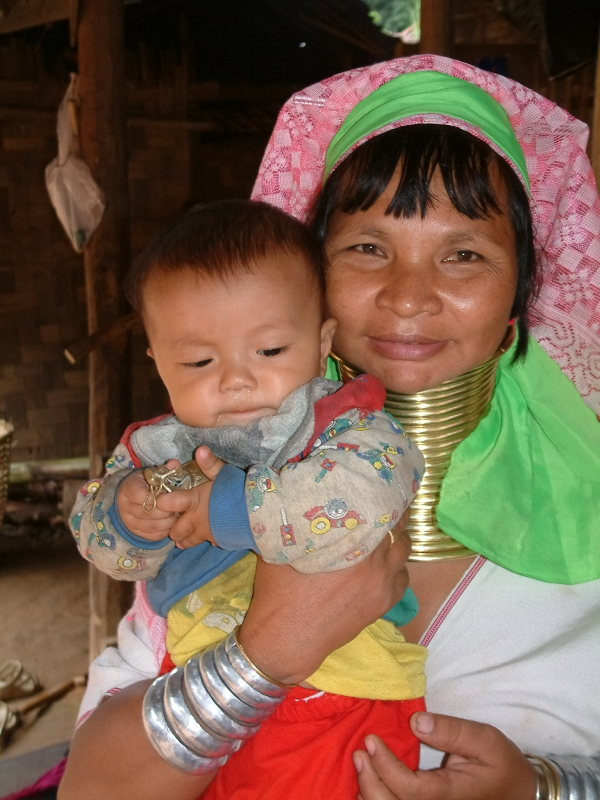Long-necked Karen Woman and Child