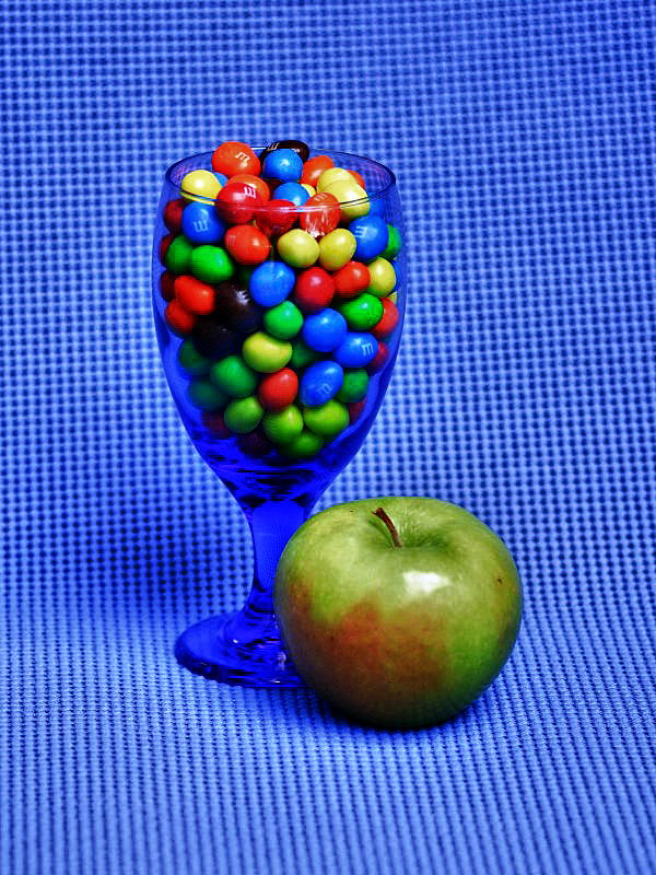Candy in Blue Glass