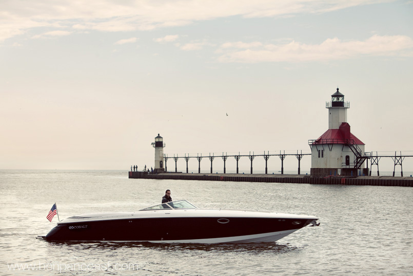 Saint Joseph Michigan Light house, boat portraits, boat picture, portrait, lake michigan.