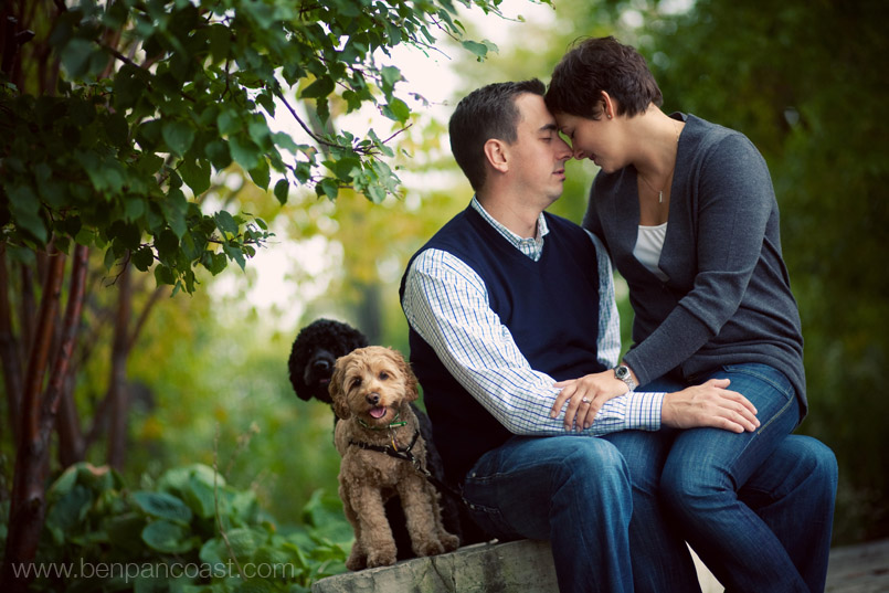 Engagement Photos with Dogs in downtown chicago