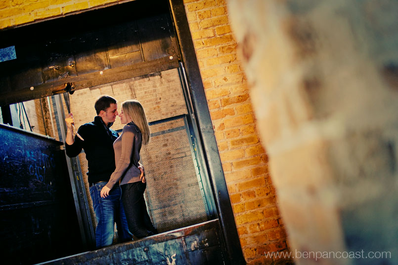Indoor engagement photos in Chicago IL at Salvage One in downtown Chicago