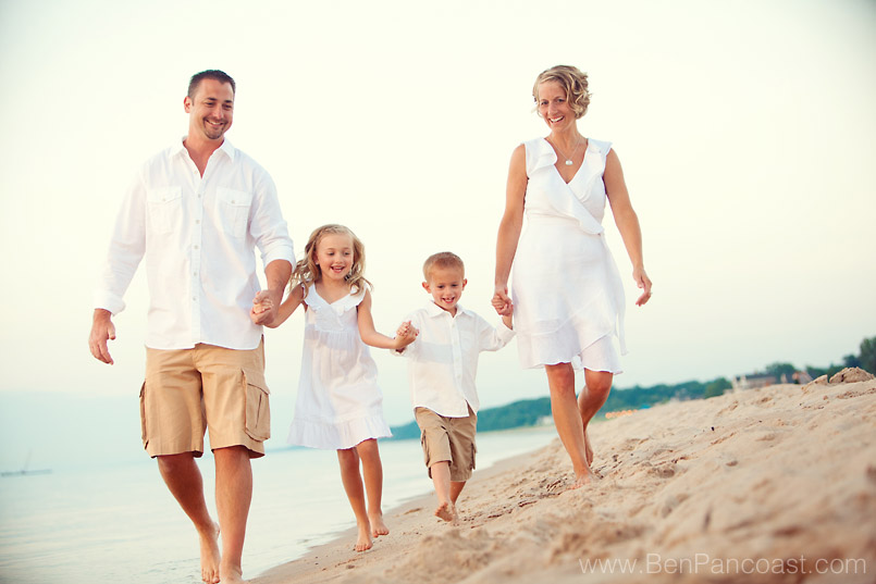 Family portrait session on the beach in southwest michigan