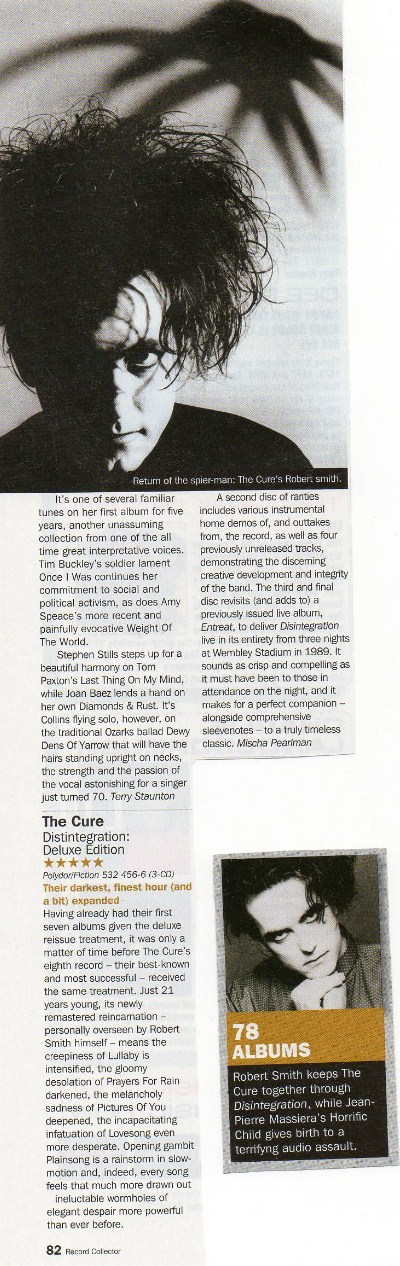 Disintegration Deluxe Review (Record Collector July 2010)