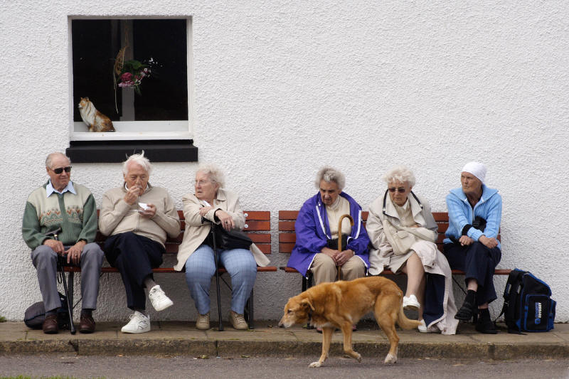 old people and dog
