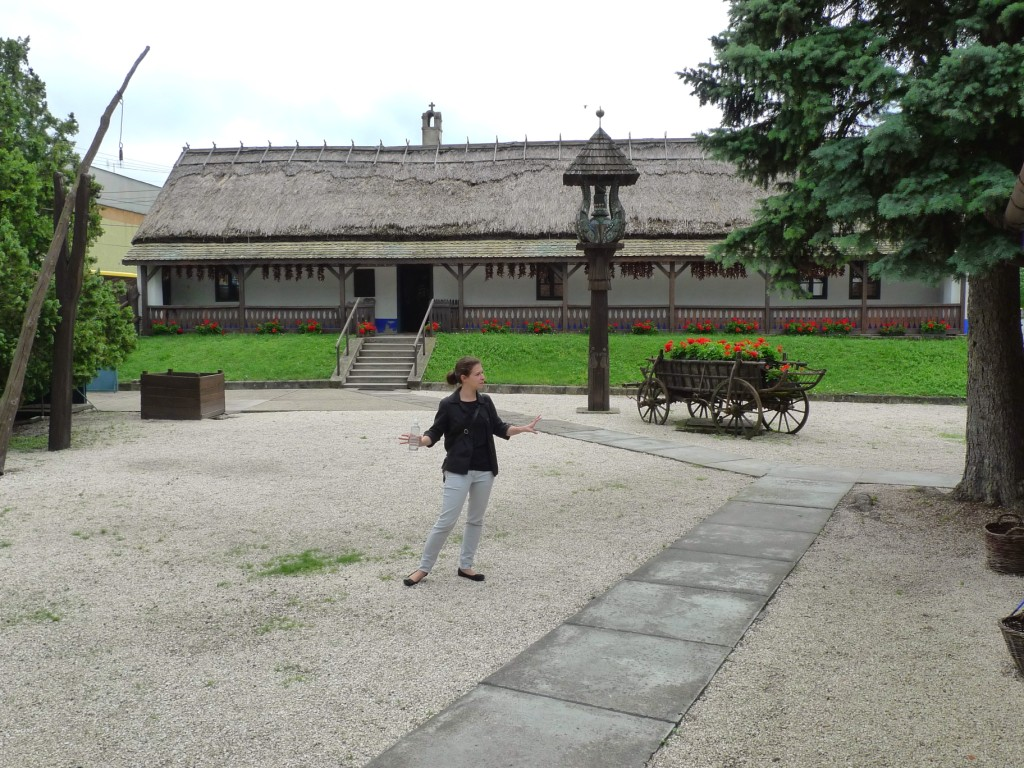 Guide in Kalocsa in Front of House of Folk Art