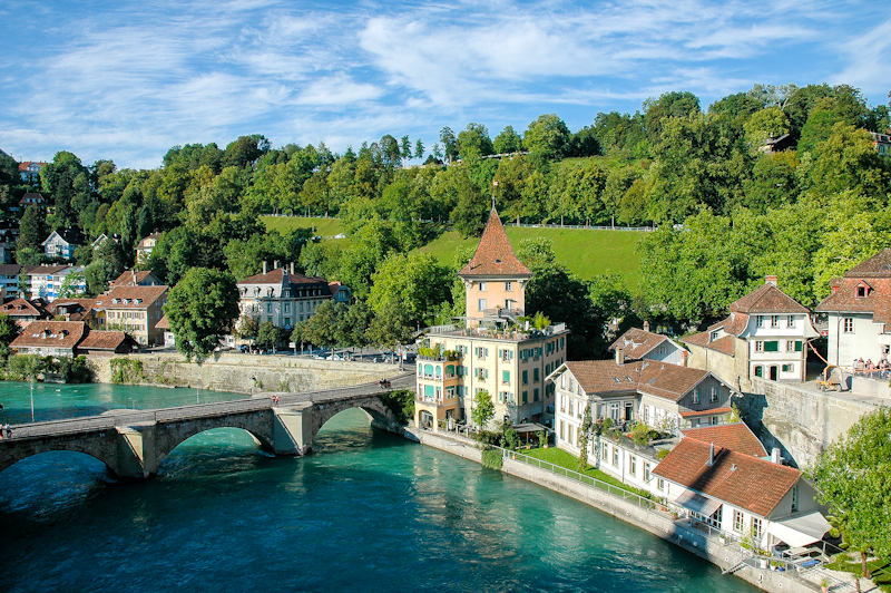 View of Aare riverside with Untertorbrücke, Bern