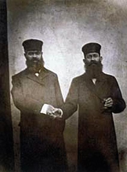 My Great Grandfather Ezekiel, left, with unkown man. Lodz, Poland, 1890s