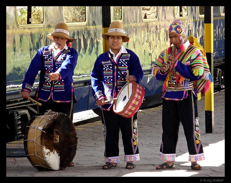 Musicians at Hiram Bingham Train at Cusco