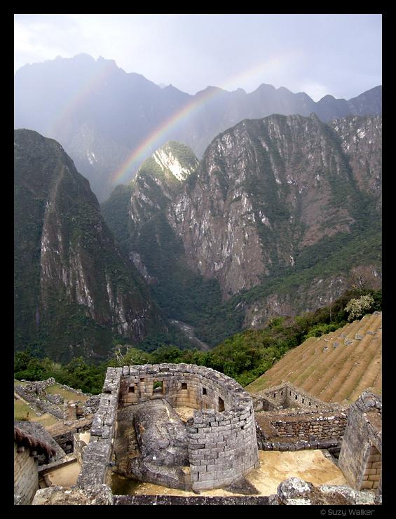 Double rainbow above the Temple of the Sun, Machu Picchu