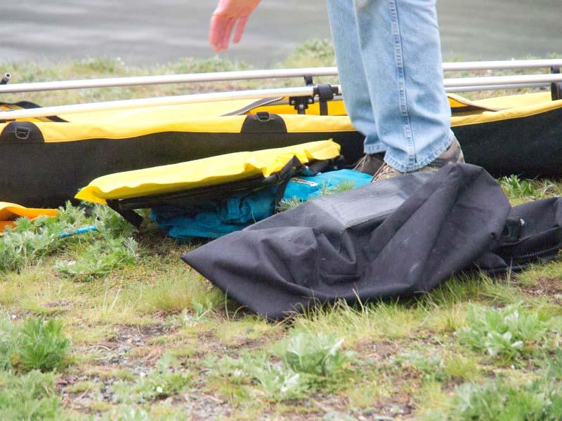 Putting together a kayak.