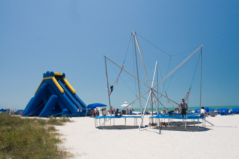 trampolines and slide on the beach