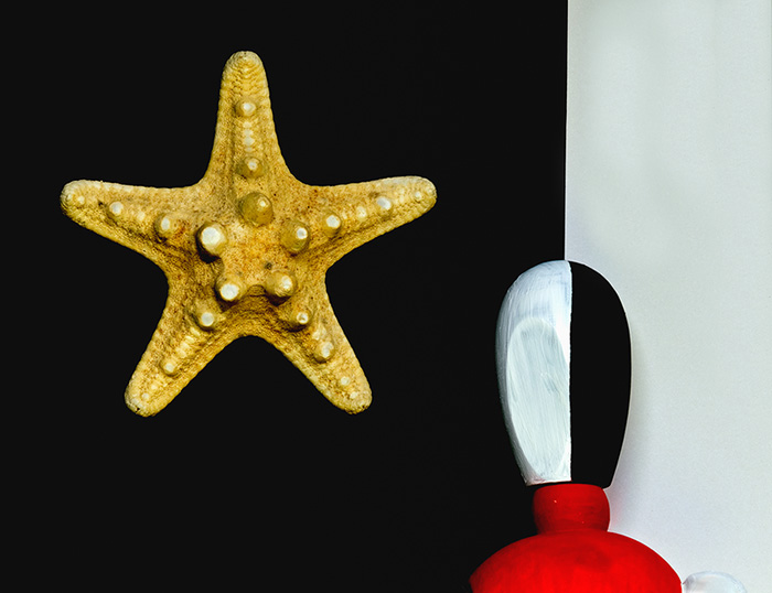 The man and the starfish posing as a star in the night sky