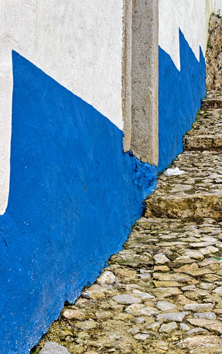 Blue and white steps