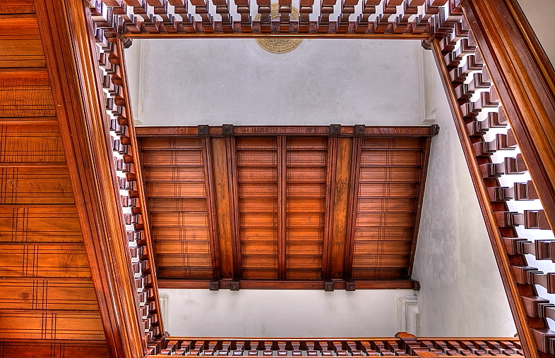 Looking Up Renovated Stairwell