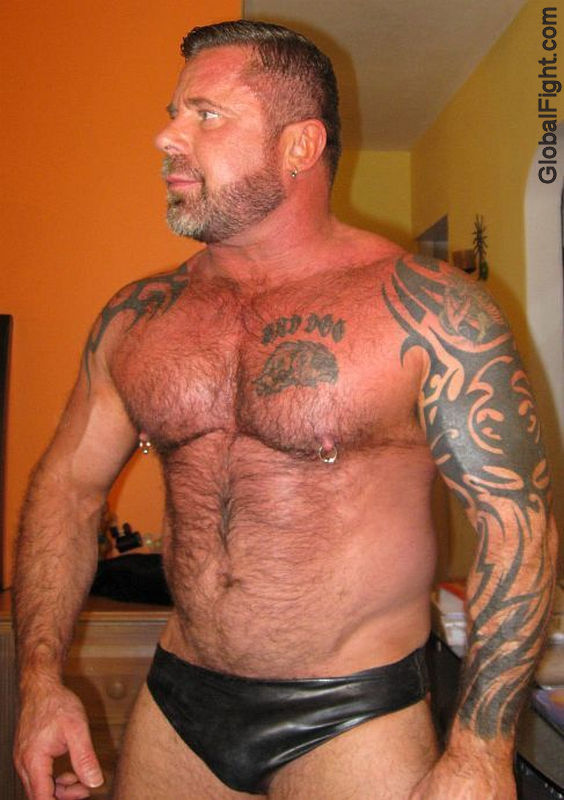 Gayleather hairy men