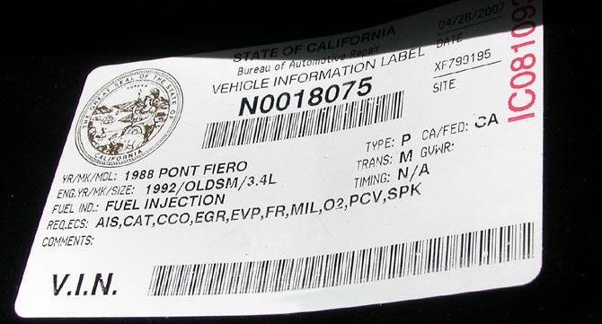 BAR Smog Certification Sticker