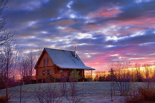 Log House At Sunrise 20111104
