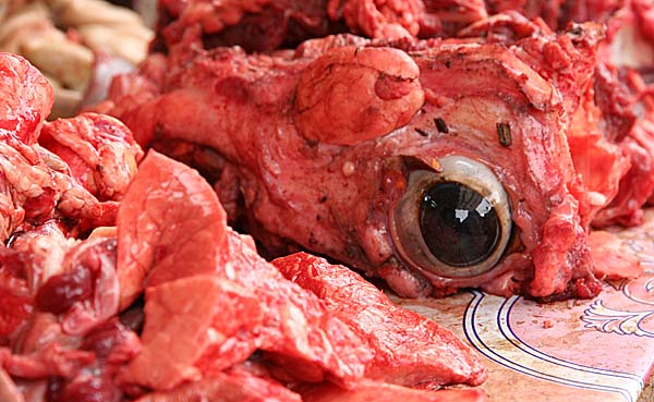 In the market: a cows eye.