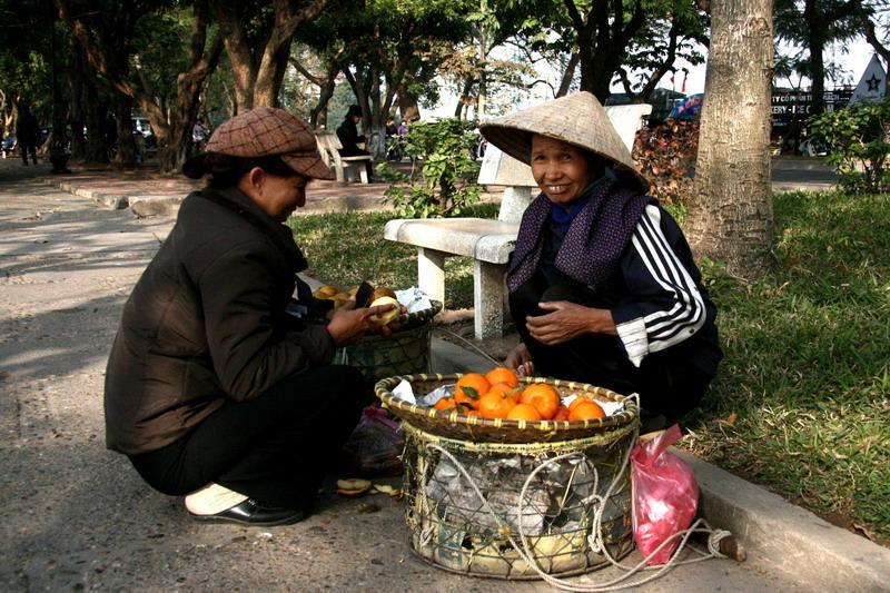 Vendeuse doranges dans un parc - Hanoi