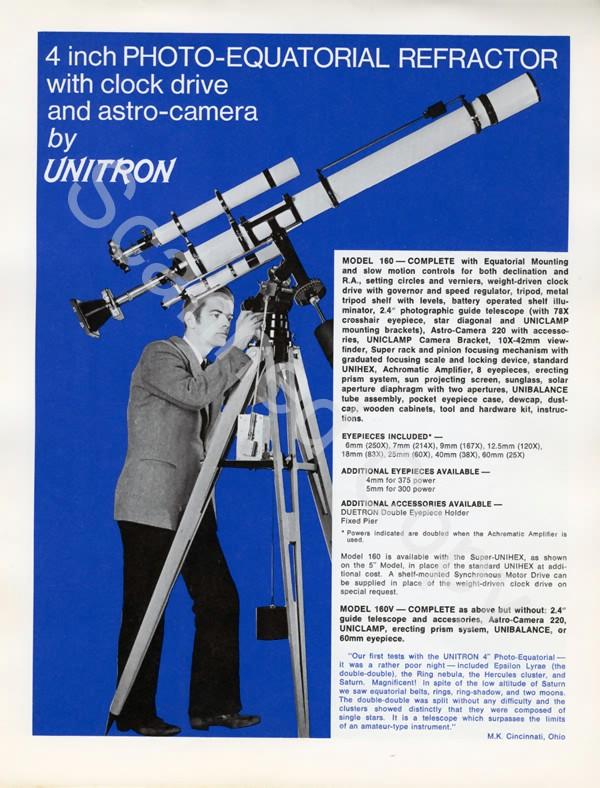 Unitron 4 inch Model #160 Photo-Equatorial