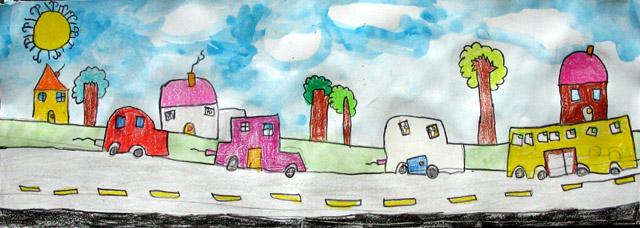 long paper - traffic jam, Sindy, age:7