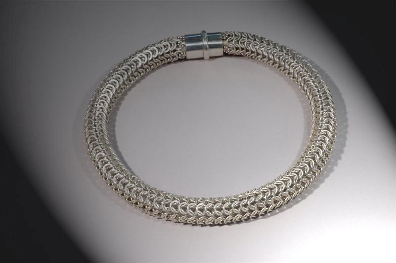 WN6 - Chainmail Choker  (over 800 handmade silver links)