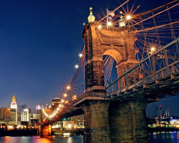 Nightime Over the Ohio<br>John A. Roebling Bridge